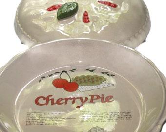 Vintage Cherry Pie Keeper, Home Decor, Pie Keeper, Pie Dish, Pottery Pie Plate, Pie Holder, Kitchen Decor