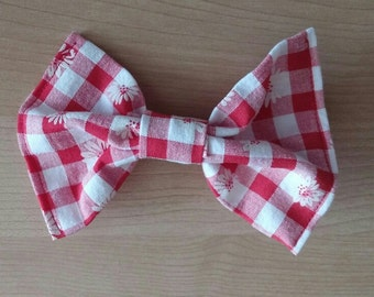 Vintage Inspired Hair Bows for Teens and Women, Red Gingham Pink Gingham Hair Bow Clip