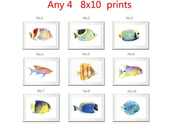 set of 4 prints, watercolor print, fish painting print, animal prints wall art