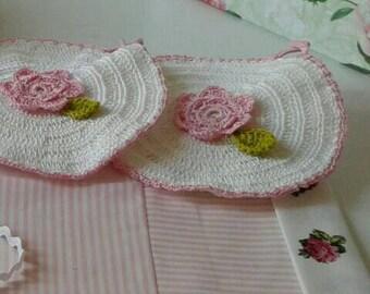 shabby spring crocheted potholders