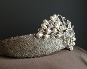 AMELIA Silver Beaded Bridal Millinery Headband Tiara Diamonte Brooch