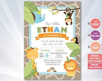JUNGLE - monkey invitation - birthday Invitation - boy invitation