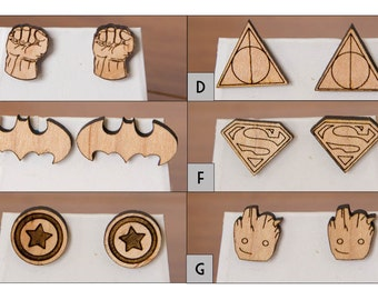 Movie and Comic Hero wood earrings