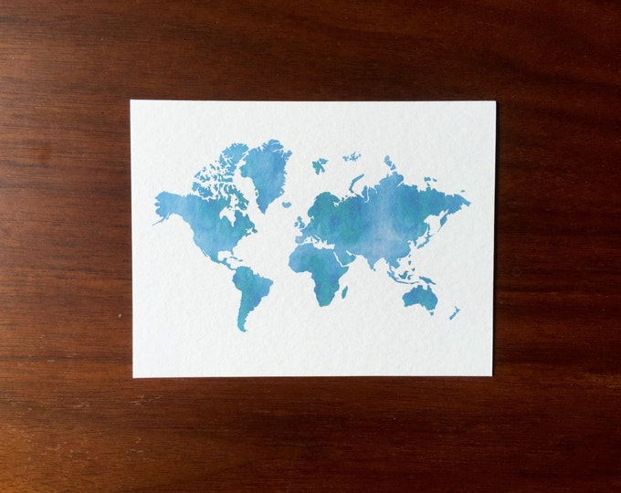 Blue Continents Post Cards Watercolor Design multipack post cards letter card mailing postal holiday travel notecard notes logo free