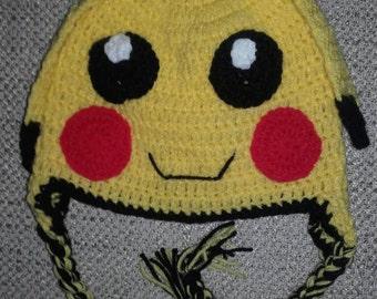Crochet pikachu  hat, baby pokemon hat, newborn pikachu hat, pikachu hat,  baby pikachu hat, Pokemon beanie, ready to ship
