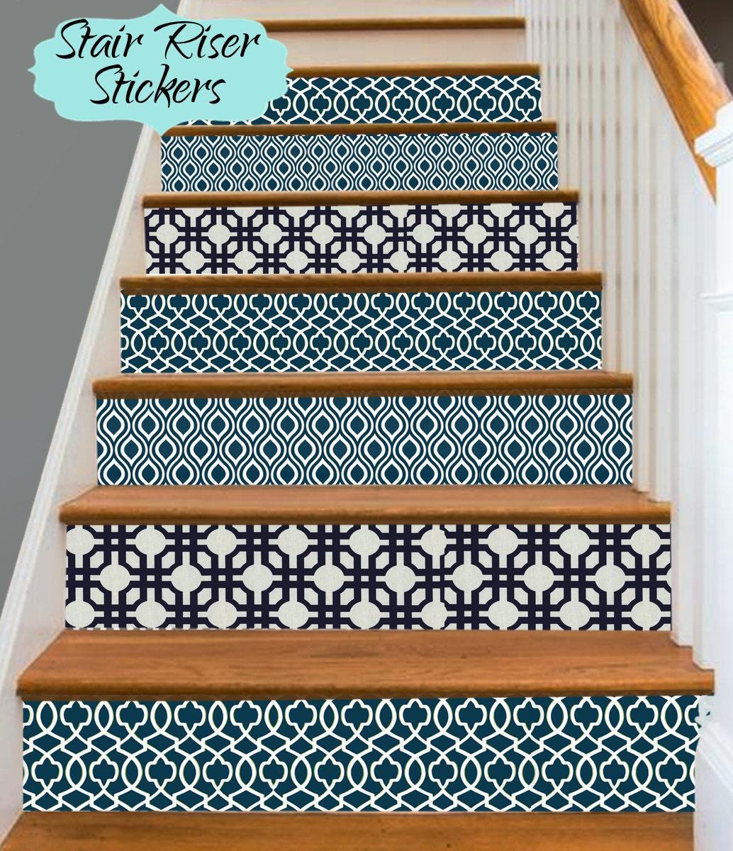 stair riser vinyl strips removable sticker peel stick for 15. Black Bedroom Furniture Sets. Home Design Ideas