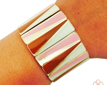 Fitbit Bracelet for Fitbit Flex and Flex 2 Fitness Activity Trackers - The BROOKE Brown, Pink, Cream and Gold Stretch Bracelet - Ships FREE
