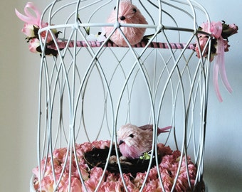 Bird Cage with 2 birds and nest
