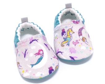 Aqua Mermaid Baby Shoes, Soft Sole Baby Shoes, Baby Booties, Toddler slippers, baby shoes girl, Mermaid, aqua baby shoes