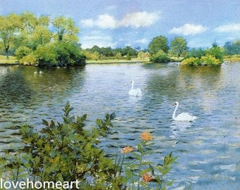 100%handpainted william merritt a long island lake by william merritt chase oil painting reproduction for home decor wall art or gift