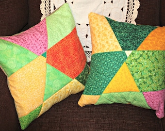 Accent Pillow, Pillow Cover, Quilted Pillow, Patchwork Pillow, Modern Pillow, Throw Pillow, Sofa Pillow, Q029Patchwork Pillow