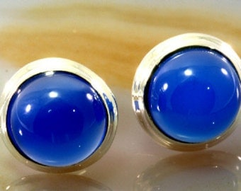 Stud earrings 925 sterling silver and blue glass - 4112
