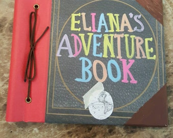 """Personalized """"Adventure Book"""" Inspired Autograph Book, Travel Journal with Hand Painted Name from Disney Pixar Up 6"""" x 6 """" or 8 x 8"""