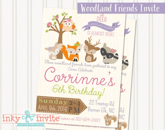Girls woodland friends birthday party invitation girl woodland il570xn stopboris Choice Image