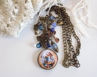 Alice in Wonderland Charm Necklace Alice Locket Necklace Alice Inspired Fairy Tale Jewelry Long Necklace Gift for Her