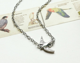 Swallow Necklace. Silver Swallow Necklace. Silver Necklace. Swallow Jewelry. Silver jewelry.  Charm Necklace. Bird Jewelry. Bird Gift.