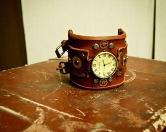 Leather steampunk watch