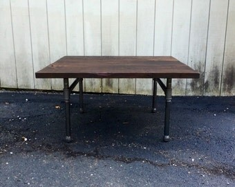 Reclaimed Wood Coffee Table Rustic Industrial Black Iron Pipe Square Coffee  Table End Table Sofa Coffee