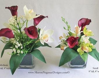 Plum/purple/maroon, ivory, green, floral arrangement / centerpiece, calla lily lilies, cymbidium orchids, silk, wedding, home decor, gift