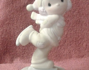 """Vintage Precious Moments Figurine - """"Dropping In For Christmas"""" - Suspended 1984"""