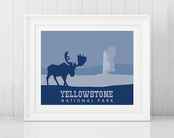 Yellowstone Art Print ~ Yellowstone Poster ~ Yellowstone Print ~ Old Faithful Art ~ National Park Poster ~ Wyoming Art Print ~ Yellowsone WY