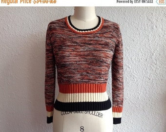 SALE 1970s space dyed cropped sweater