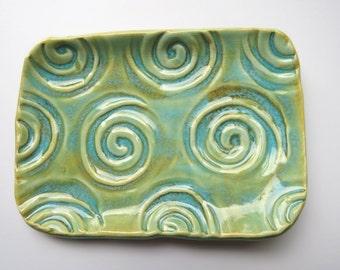 Ceramic ~Gold-ish Blue ~soap dish ~Ceramic Soap Dish ~Pottery Soap Dish ~Small Ceramic Dish ~Ring Dish ~spoon rest ~Home Decor ~Bathroom