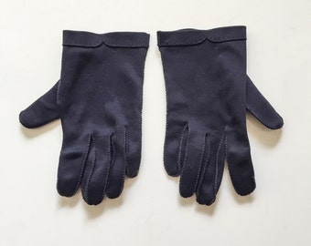 Vintage 50s 60s Navy Blue Gloves  by Crescendoe // hand sewn quality mid century navy gloves // 1950s 1960s gloves Leather Tailored size 7