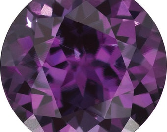 7MM Round Faceted Chatham Brand Created Alexandrite Loos Gemstone for Engagement or Anniversary Ring