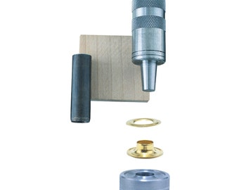 Grommet Kit: Hole Cutter, Mandrel/Anvil pair, Hardwood Backer Block and 12 Grommets, 1/2-Inch. Canvas, Tarps, Tents, Awnings, Covers Repairs