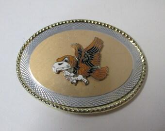 Vintage Hawk Belt Buckle Gold Tone Edge