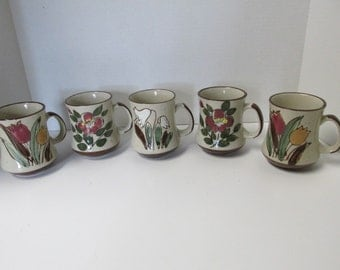 Vintage Set of 5 Normandy Stoneware Flower Mugs