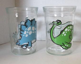 Vintage Set of 2 Dinosaur Welch's Glasses 1988 Stegosaurus Brontosaurus