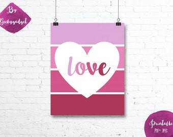 LOVE Heart and pink paint chip - Nursery poster - Pdf printable, DIY, wall art, inspirational decoration, motivational