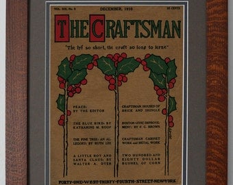 The Craftsman Christmas 1910 Mission Style Art in Quartersawn Oak Frame