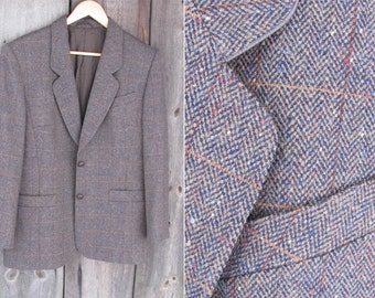 Vintage Hensel & Mortensen Womens Jacket Size US 12, GB 16; Brown Herringbone Wool Padded Jacket; 100% Reine Schurwolle Blazer Vtg
