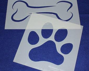 2 Piece EXTRA Large Dog Bone Paw Print Set   - Stencil-  14 Mil Mylar