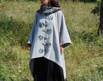 Beige coat/Elegant cape tabard/One size coat cape/Unique coat cape/Design coat cape/Coat with hood/Gorgeous cape cloak tabard/Boho coat/