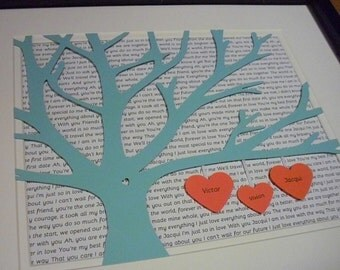 1st Anniversary Gift, Bride and Groom Gift, Personalized 11X14 Unframed 3D Paper Tree Wedding Gift, Anniversary, Wedding Song Lyrics
