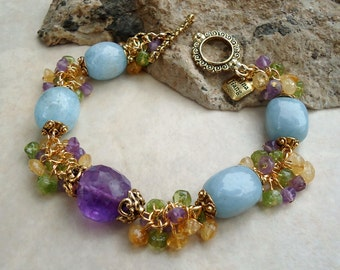 Multi Gemstones Cluster Bracelet.Citrine.Aquamarine.Amethyst.Peridot.Wedding.Beadwork.Gold.Toggle.Bridal.Statement.Colorful.Chunky.Handmade.