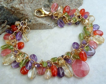 Multi Gemstone Cluster Bracelet.Multi Color.Statement.Bridal.Cherry quartz.Amethyst.Peridot.Citrine.Carnelian.Gold.Colorful.Chunky.Handmade.