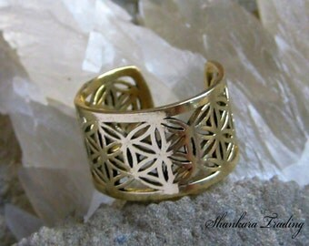 Flower of Life Ring, Sacred Geometry Ring, Brass Tribal Ring, Adjustable Ring, Indian Brass Ring, Sacred Geometry Jewelry, Ethnic Ring