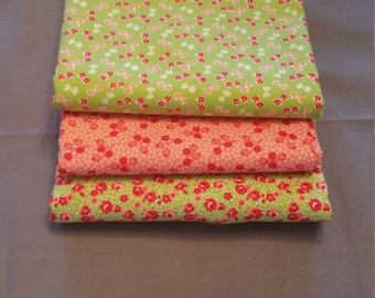 Little Ruby Half Yard Bundle of 3 in Green and Coral by Bonnie and Camille