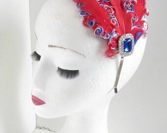 Great Britain Flag Feather Headband Union Jack Fascinator Headpiece Flapper United Kingdom P45