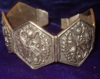 Sterling Silver Hexagonal Panel Bracelet 76 grams