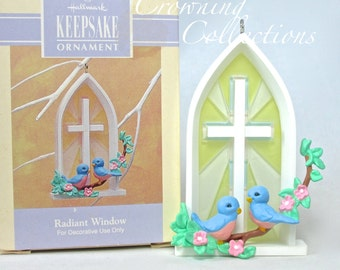 1993 Hallmark Radiant Window Easter Keepsake Ornament Spring Stained Glass Window Blue Birds Church Cross CUTE!