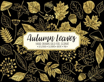 SALE. Fall Leaf Clip Art. Gold Autumn Leaves Clipart.  Metallic Autumn Foliage, Acorn, Mushroom Clip Art. Hand Drawn Doodle Gold Fall Leaves