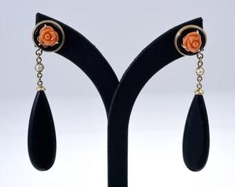 Vintage Onyx, Seed Pearl and Coral Earrings