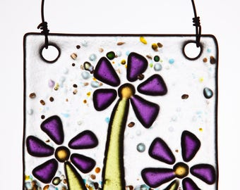Fanciful Violet Flowers in Fused Glass.  The Perfect Fresh Ornament!