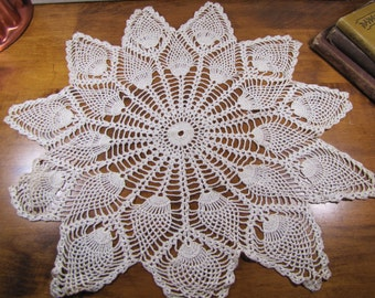 Vintage Crocheted Doily - Strawberry Pattern - Pearly Ecru - 17 3/4""